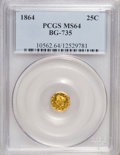 California Fractional Gold: , 1864 25C Liberty Octagonal 25 Cents, BG-735, R.4, MS64 PCGS. PCGSPopulation (3/0). NGC Census: (1/0). (#10562)...