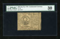 Colonial Notes:Continental Congress Issues, Continental Currency July 22, 1776 $30 PMG Very Fine 30....