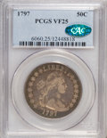 Early Half Dollars: , 1797 50C VF25 PCGS. CAC. PCGS Population (4/23). NGC Census:(3/312). Mintage: 3,918. Numismedia Wsl. Price for NGC/PCGS co...