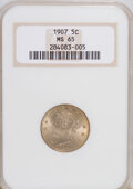 Liberty Nickels: , 1907 5C MS65 NGC. NGC Census: (66/11). PCGS Population (71/27).Mintage: 39,214,800. Numismedia Wsl. Price for NGC/PCGS coi...