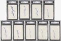 Autographs:Index Cards, Phil Rizzuto Signed Index Cards PSA-Graded Lot of 9....