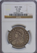 Bust Half Dollars, 1813 50C F15 NGC. O-108. NGC Census: (5/405). PCGS Population(4/386). Mintage: 1,241,903. Numismedia Wsl. Price for NGC/P...