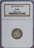 Bust Dimes, 1837 10C Capped XF45 NGC. NGC Census: (3/104). PCGS Population(14/84). Mintage: 359,500. Numismedia Wsl. Price for NGC/PCG...