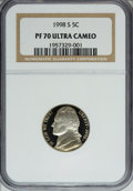 Proof Jefferson Nickels: , 1998-S 5C PR70 Ultra Cameo NGC. NGC Census: (354/0). PCGS Population (173/0). Numismedia Wsl. Price for NGC/PCGS coin in P...