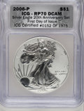 Modern Bullion Coins, 2006-P $1 Silver Eagle, 20th Anniversary RP70 ICG. First Day of Issue ICG Certified #0152 of 1975. PCGS ...