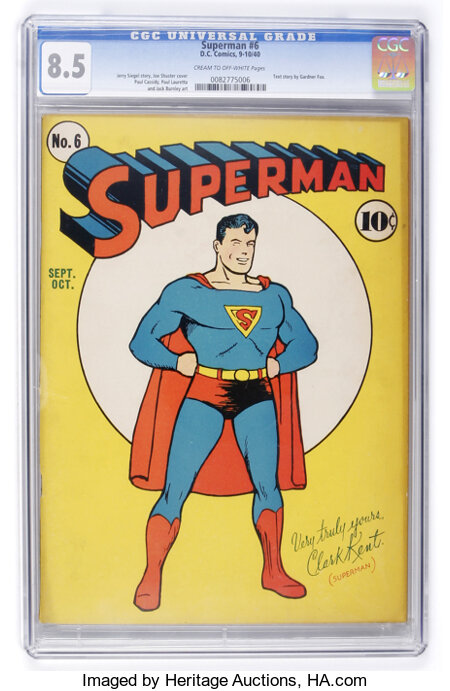 Superman #6 (DC, 1940) CGC VF+ 8.5 Cream to off-white pages....