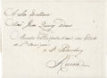 "Autographs:U.S. Presidents, [John Quincy Adams] Unopened Letter Sent to Adams as Minister to Russia. The folded, and still sealed, letter measures 5"" x ..."