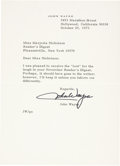 "Autographs:Celebrities, John Wayne Typed Letter Signed. One page, 6"" x 8.25"" personalletterhead, October 29, 1973, Hollywood, California, to Marjor..."