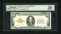 Small Size:Gold Certificates, Fr. 2405 $100 1928 Gold Certificate. Very Fine-Extremely Fine.. These are scarce in any grade with this example sporting dar...