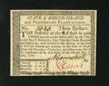 Colonial Notes:Rhode Island, Rhode Island July 2, 1780 $3 Gem New....