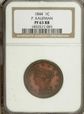 Proof Large Cents: , 1844 1C PR63 Red and Brown NGC. NGC Census: (2/2). PCGS Population(2/2). (#1962)...