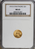 Commemorative Gold: , 1915-S G$1 Panama-Pacific Gold Dollar MS65 NGC. NGC Census:(673/509). PCGS Population (1082/728). Mintage: 15,000. Numisme...