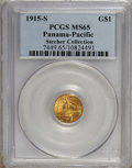 Commemorative Gold, 1915-S G$1 Panama-Pacific Gold Dollar MS65 PCGS. EX: StecherCollection. PCGS Population (1099/741). NGC Census: (678/519)....