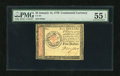 Colonial Notes:Continental Congress Issues, Continental Currency January 14, 1779 $5 PMG About Uncirculated 55EPQ....