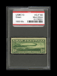 #C13, 1930, 65c Green, VG-F 60 PSE. (Original Gum - Never Hinged)