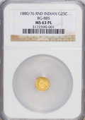 California Fractional Gold: , 1880/76 25C Indian Round 25 Cents, BG-885, R.3, MS63 Prooflike NGC.NGC Census: (5/13). (#710746)...
