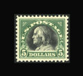 Stamps, #524, 1918, $5 Deep Green & Black, XF-S 95 PSE. (Original Gum - Previously Hinged)....