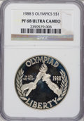 Modern Issues: , 1988-S $1 Olympic Silver Dollar PR68 Ultra Cameo NGC. NGC Census:(10/47). PCGS Population (223/979). Mintage: 1,300,000. N...