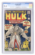 Silver Age (1956-1969):Superhero, The Incredible Hulk #1 (Marvel, 1962) CGC GD+ 2.5 Cream tooff-white pages....