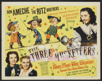 "The Three Musketeers (20th Century Fox, 1939). Half Sheet (22"" X 28"") and Lobby Card (11"" x 14""). Sw..."