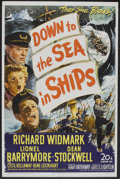 "Movie Posters:Adventure, Down to the Sea in Ships (20th Century Fox, 1949). One Sheet (27"" X41""). Adventure.. ..."