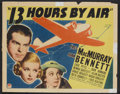 "Movie Posters:Mystery, 13 Hours by Air (Paramount, 1936). Half Sheet (22"" X 28"") Style B.Mystery.. ..."