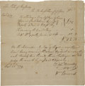 "Autographs:Statesmen, David Brearley and William Burnet Document Signed ""DavdBrearley"" and ""Wm Burnett"". One page, 8.75"" x 8.5"". NewJers..."