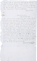 """Autographs:Military Figures, Stand Watie Autograph Document Signed Twice, A Promissory Note With a Slave Child as Collateral. One page, 8"""" x 13.5"""", """"Ch..."""