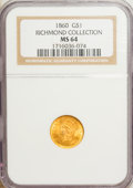 Gold Dollars, 1860 G$1 MS64 NGC....