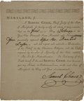 "Autographs:Statesmen, Samuel Chase Document Signed. One page, 6.5"" x 8"", February 1,1794, ""Baltimore Town"", Maryland. Seven words in this par..."