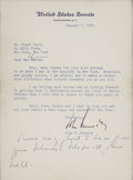 "Autographs:U.S. Presidents, John Kennedy Typed Letter Signed as Senator with HolographInscription. One page, 6"" x 8"" (sight), on United States Senatel..."