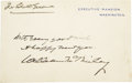 """Autographs:U.S. Presidents, William McKinley Autograph Note Signed, Executive Mansion Card. Onepage, 4.5"""" x 2.75"""", n.d., Washington, D.C. The card read..."""