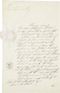 Autographs:Non-American, Victoria, Queen of Great Britain, Document Signed. Two page, frontand verso, February 19, 1851, Saint James, London. The do...(Total: 2 Items)