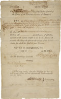 "Autographs:U.S. Presidents, George Washington War-Dated Pay Warrant Signed. Partly printed document, one page, 8"" x 13"", n.p. [New Windsor, NY], May 1, ..."
