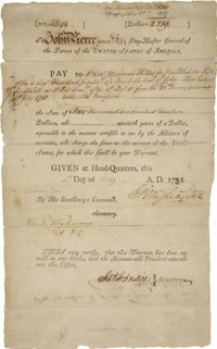 """George Washington War-Dated Pay Warrant Signed. Partly printed document, one page, 8"""" x 13"""", n.p. [New Windsor..."""