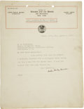 """Autographs:Authors, John Philip Sousa Typed Letter Signed and Typed Manuscript Signed. Letter: One page, 8.5"""" x 11"""", Willow Grove, PA, August 4,... (Total: 2 Items)"""