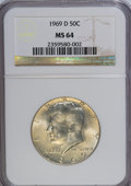 Kennedy Half Dollars: , 1969-D 50C MS64 NGC. NGC Census: (125/344). PCGS Population(197/322). Mintage: 129,881,800. Numismedia Wsl. Price for NGC/...