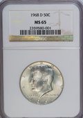 Kennedy Half Dollars: , 1968-D 50C MS65 NGC. NGC Census: (172/124). PCGS Population(634/281). Mintage: 246,951,936. Numismedia Wsl. Price for NGC/...
