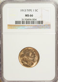 Buffalo Nickels: , 1913 5C Type One MS66 NGC. NGC Census: (1130/277). PCGS Population(1560/386). Mintage: 30,993,520. Numismedia Wsl. Price f...