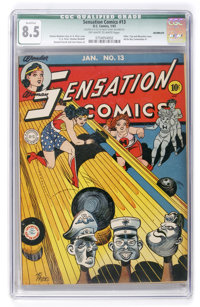 Sensation Comics #13 (DC, 1943) CGC Qualified VF+ 8.5 Off-white to white pages