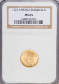 Commemorative Gold: , 1926 $2 1/2 Sesquicentennial MS65 NGC. NGC Census: (885/91). PCGSPopulation (1648/115). Mintage: 46,019. Numismedia Wsl. P...