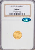 Commemorative Gold: , 1903 G$1 Louisiana Purchase/McKinley MS66 NGC. CAC. NGC Census:(323/91). PCGS Population (427/75). Mintage: 17,500. Numism...