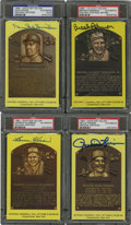 Autographs:Post Cards, Signed Gold Hall of Fame Plaques, PSA-Graded Group Lot of 4....