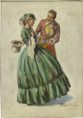 Mainstream Illustration, BRADSHAW CRANDELL (American 1896 - 1966). A Warm Greeting.Oil on canvas. 34 x 25 in.. Signed lower right. ...