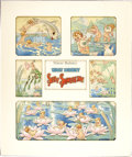 Mainstream Illustration, TOM WOOD (American c. 1870 - 1940). Walt Disney Silly Symphony,Water Babies, Good Housekeeping page, December, 1934. Mi...