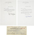 Miscellaneous:Ephemera, W. Somerset Maugham. Six Typed Letters Signed, From Maugham andAlan Searle, To Bookseller Paul North, with a Personal Check E...(Total: 7 Items)