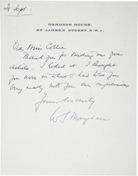 W. Somerset Maugham. Autograph Letter Signed to Miss Collier, and His Handwritten Responses to Interview Questions