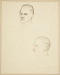 Miscellaneous:Ephemera, [W. Somerset Maugham]. Laurence Tompkins. Original Sketches ofStudies For Laurence Tompkins' Bust of Maugham, with Photograph...(Total: 2 Items)