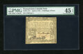 Colonial Notes:Pennsylvania, Pennsylvania April 3, 1772 2s/6d PMG Choice Extremely Fine 45EPQ....