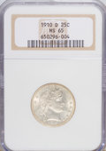 Barber Quarters: , 1910-D 25C MS65 NGC. NGC Census: (17/8). PCGS Population (20/11).Mintage: 1,500,000. Numismedia Wsl. Price for NGC/PCGS co...